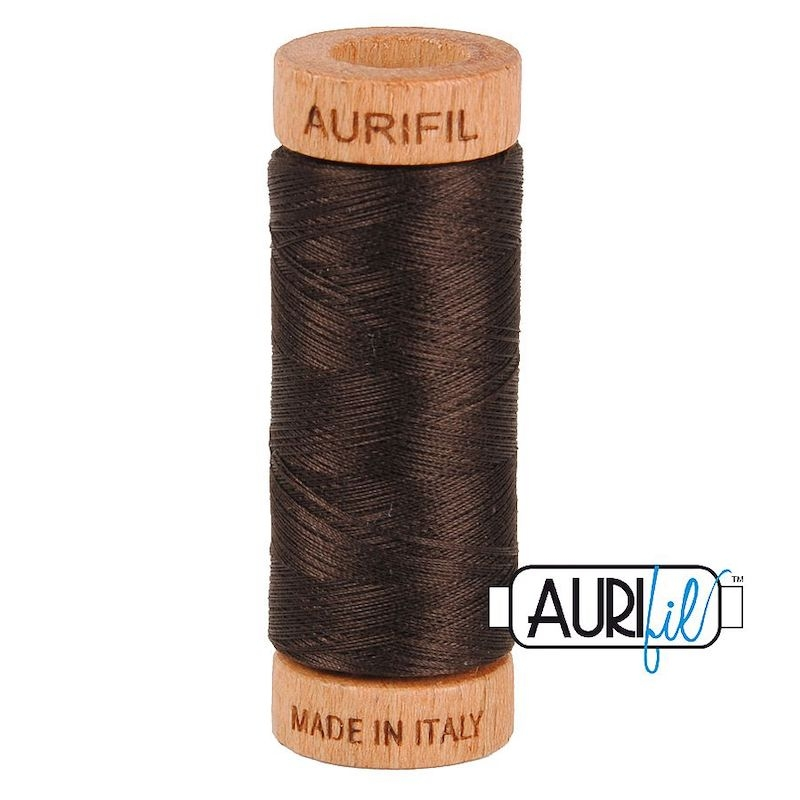Aurifil 80wt Very Dark Bark #1130 - 100% Cotton Thread
