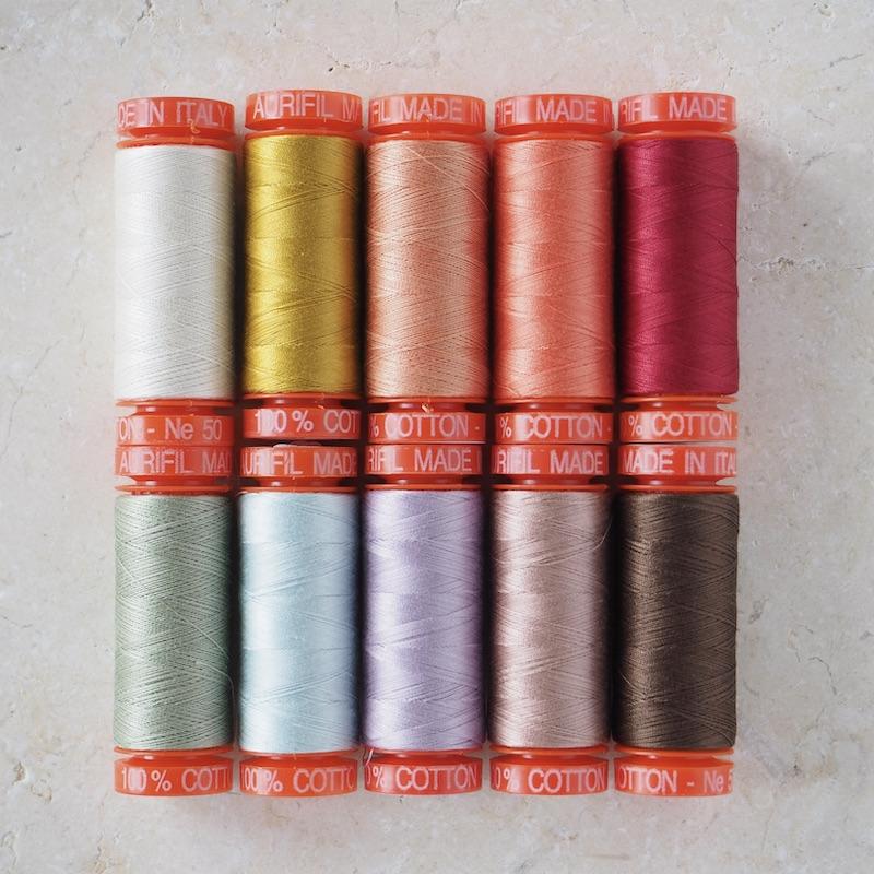 Aurifil 50wt Cotton Thread Rosette Rings Quilt Selection