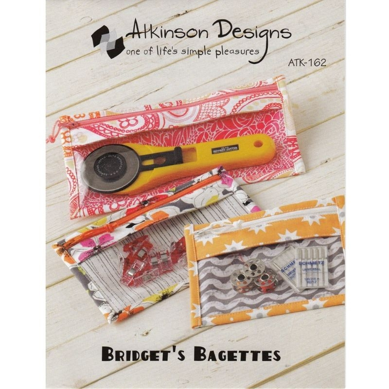 Bridget Bagettes sewing pattern. Zippered sewing cases for quilting tools and supplies