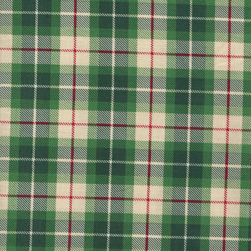 Plaid Christmas flannel fabric Green Christopher Plaid | 51866-3
