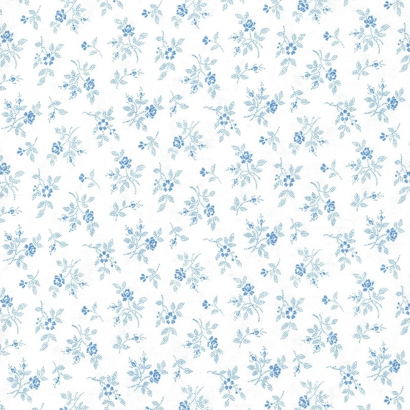 Crystal Lane Blue Floral on White   2984-17