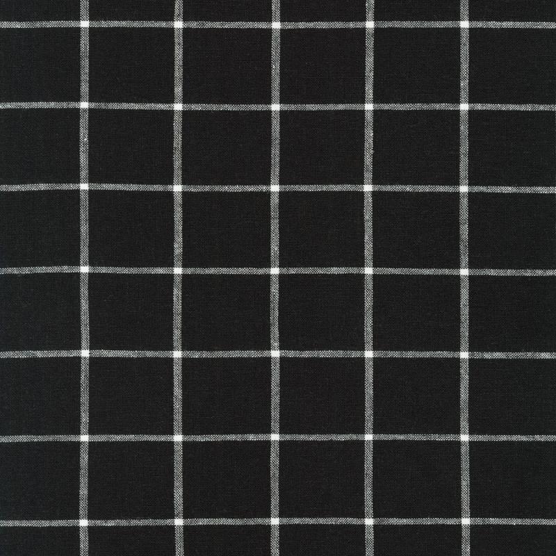 Essex Linen Yarn Dyed Classic Wovens Black   17585-2