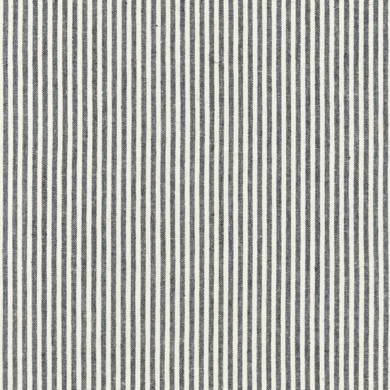 Essex Linen Yarn Dyed Classic Wovens Stripe Black | 17587-2