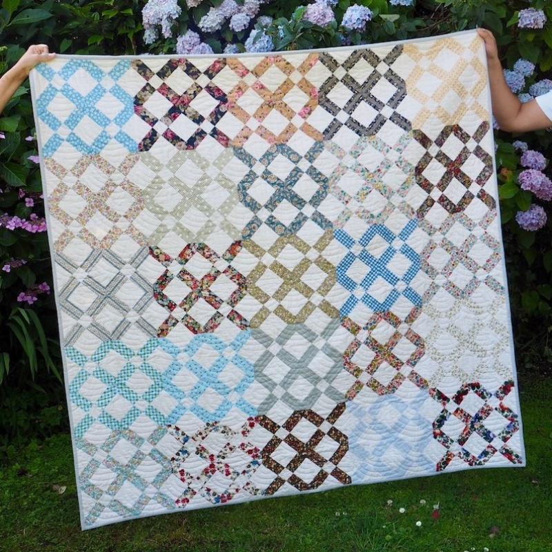 Lattice garden quilt by Jessie Fincham using Liberty fabrics and quilting cottons