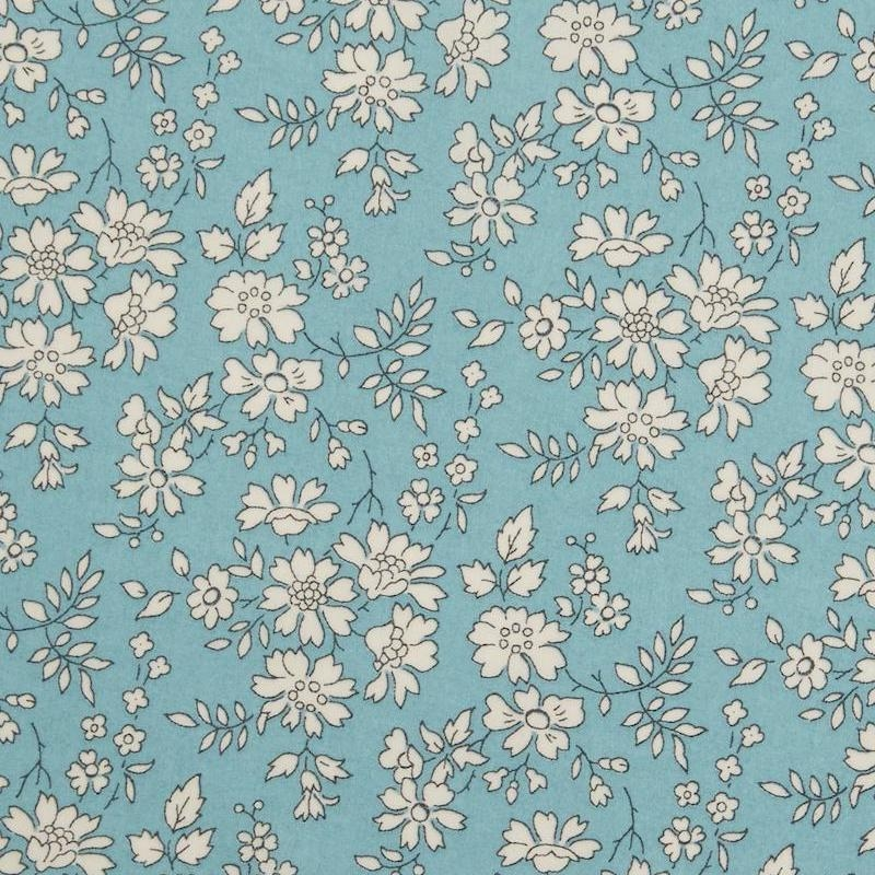 Liberty Capel print white floral on turquoise background