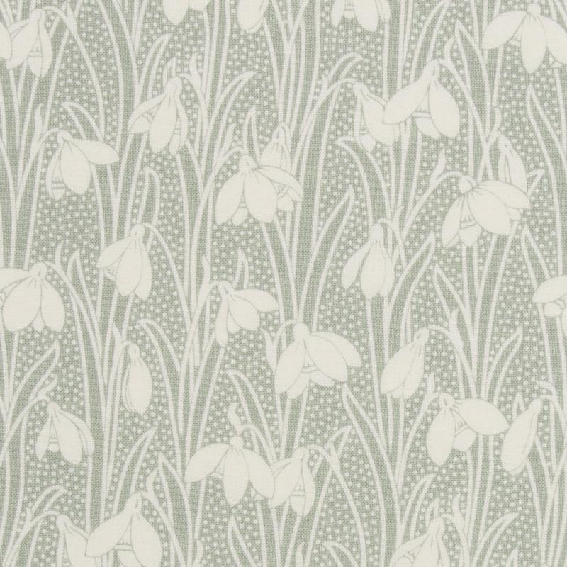 Liberty fabric Hesketh pale green with white snowdrops on quilting cotton