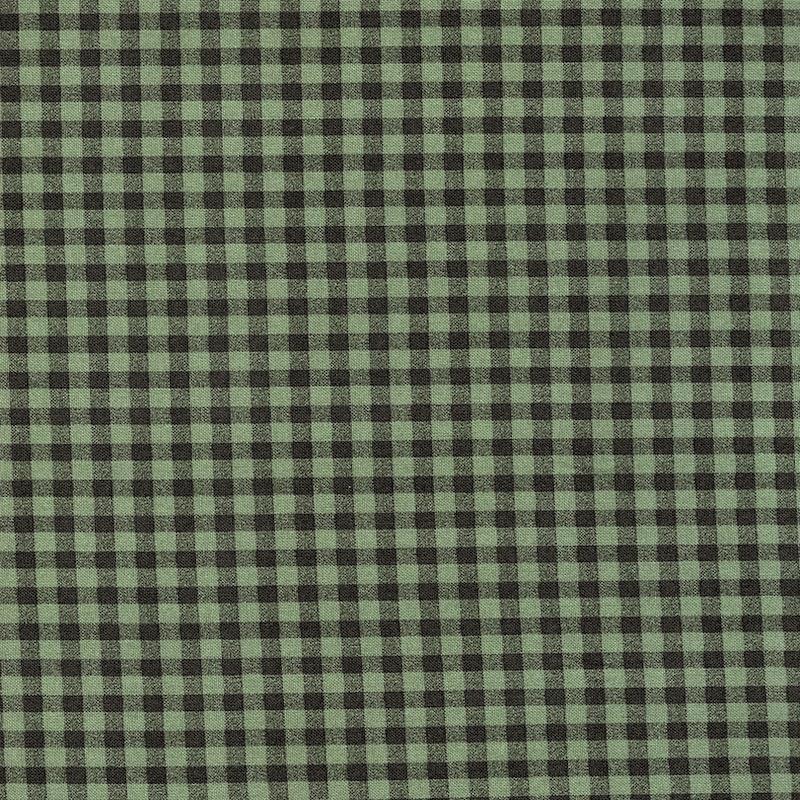 Memories Green Gingham cotton quilt fabric