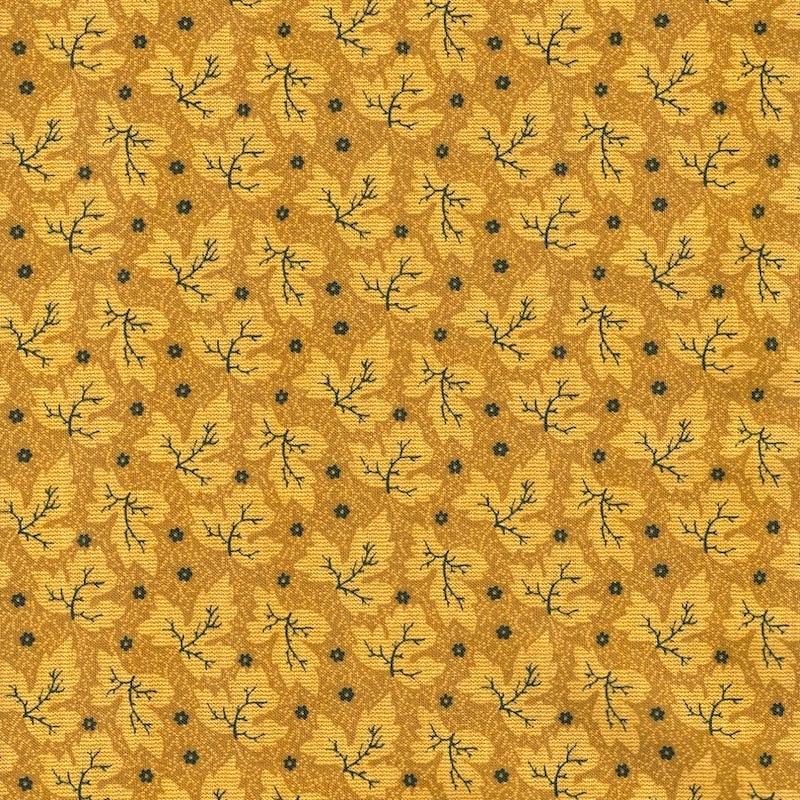 Memories Yellow Tonal Leaves cotton quilting fabric