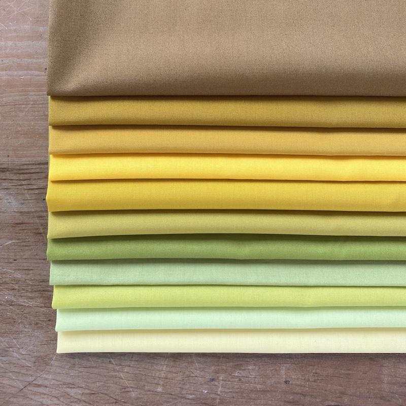 Art Gallery Fabrics Pure Solids Lime Yellow Fat Quarter Bundle