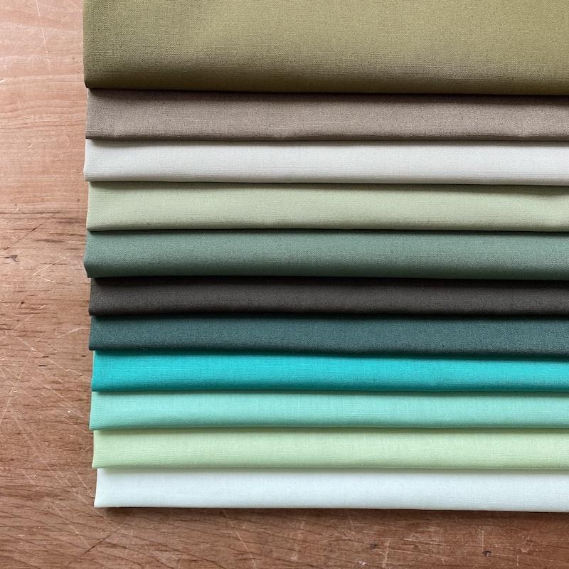 Art Gallery Fabrics Pure Solids Green Fat Quarter Bundle