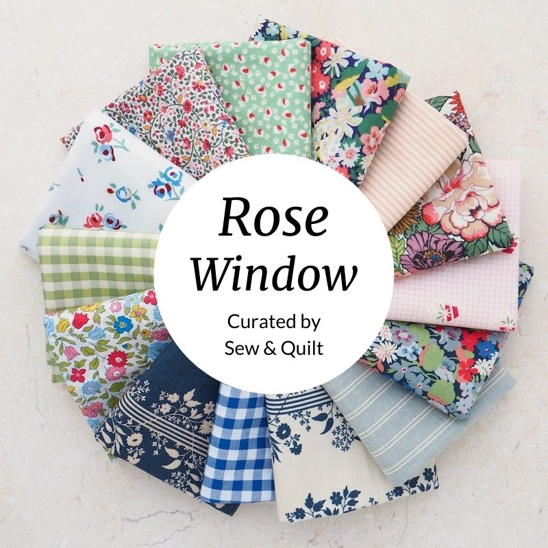 Rose Window Fat Quarter Bundle, greens pinks and blues a mix of quilting cotton and Liberty