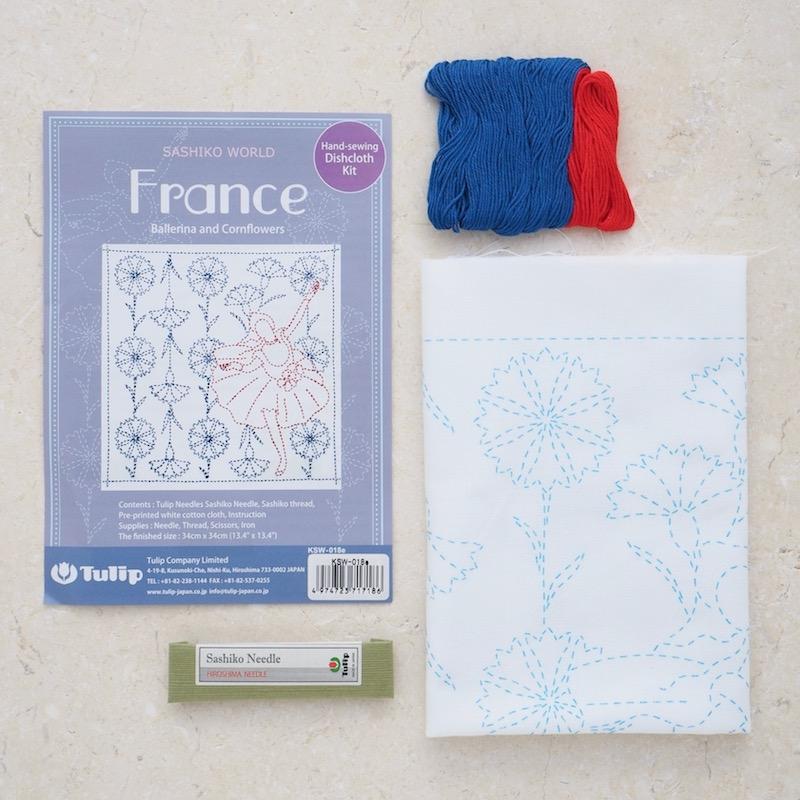 Sashiko sewing kit, France theme. Ballerinas and Cornflowers on white background