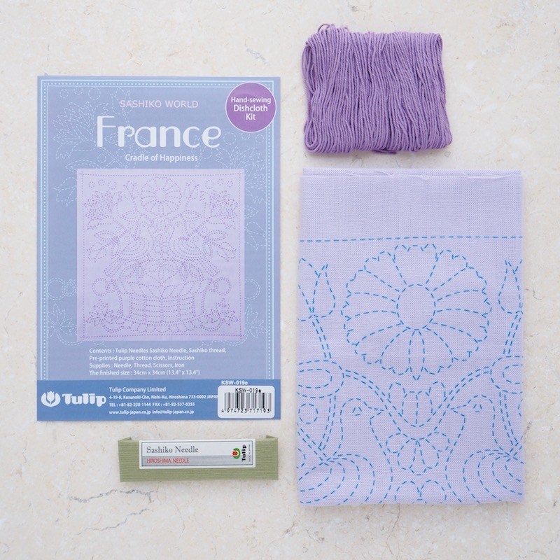 Sashiko sewing kit, France theme. Cradle of Happiness design on lilac background with lilac thread