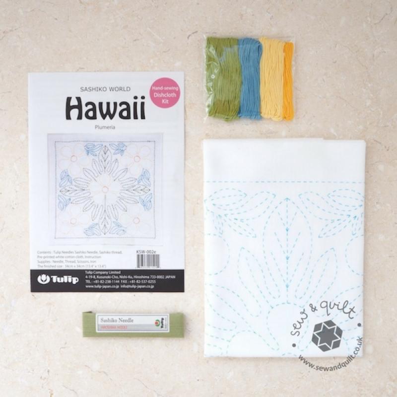 Tulip Sashiko Sewing Kit, Hawaii - Plumeria