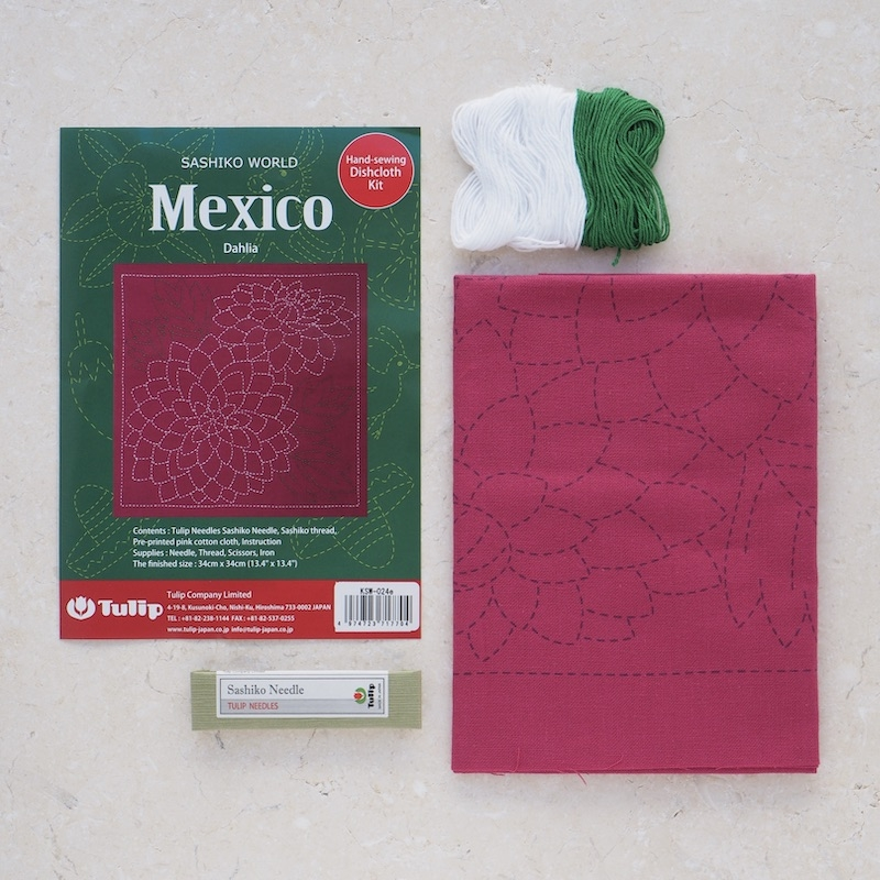Tulip Sashiko Kit, Mexico - Dahlia
