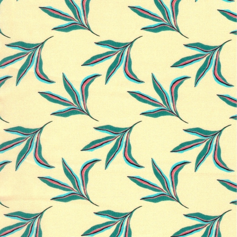 Urban Jungle collection by Paintbrush Studio, aqua leaves on cream background