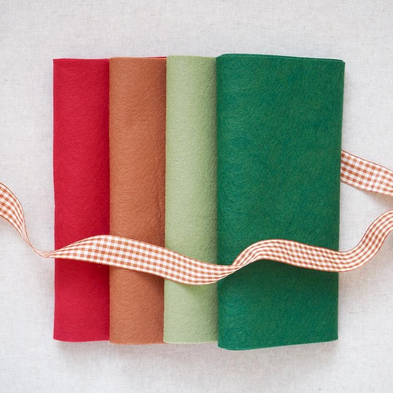 Wool Felt Blend Bundle, Christmas colours for crafts